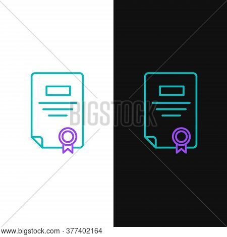 Line Certificate Template Icon Isolated On White And Black Background. Achievement, Award, Degree, G
