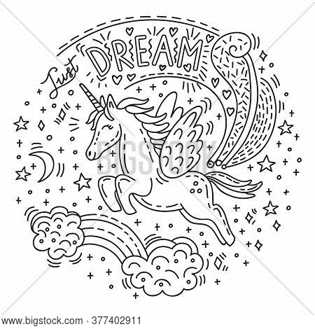 Dreaming Cute Flying Unicorn In Doodle Style.vector Monochrome Isolated Illustration.character And L