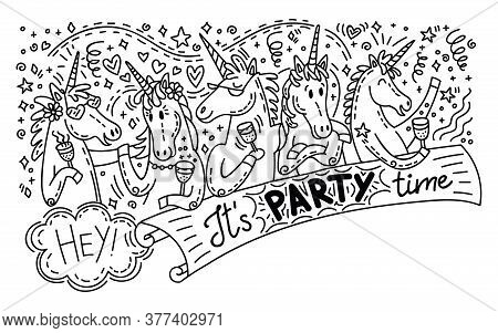 Vector Humor Doodle And Lettering Horisontal Illustration With Happy Unicorns On The Party: Drink A