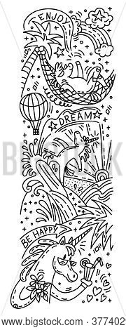 Vector Humor Doodle And Lettering Verical Illustration With Three Happy Unicorns On Vacation: Drink