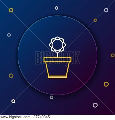 Line Flower In Pot Icon Isolated On Blue Background. Plant Growing In A Pot. Potted Plant Sign. Colo