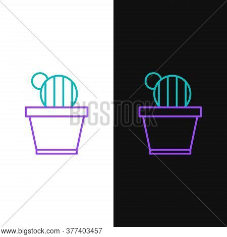Line Cactus And Succulent In Pot Icon Isolated On White And Black Background. Plant Growing In A Pot