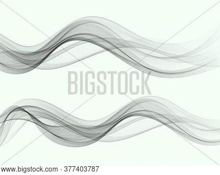 Swoosh Wave Line Abstract Background Smooth Air Smoke Border Card. Vector Illustration