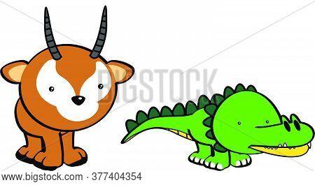 Kawaii Cute Little Baby Animals Cartoon Set In Vector Format
