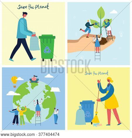 Vector Illustration Eco Backgrounds Of Concept Of Green Eco Energy And Quote Save The Planet, Think