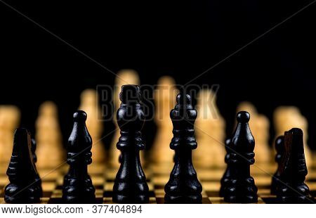 Chess Pieces On A Chess Board Selective Focus View