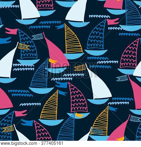 Seamless Pattern With Hand Drawn Sailing Boats And Waves On Dark Blue Background For Surface Design