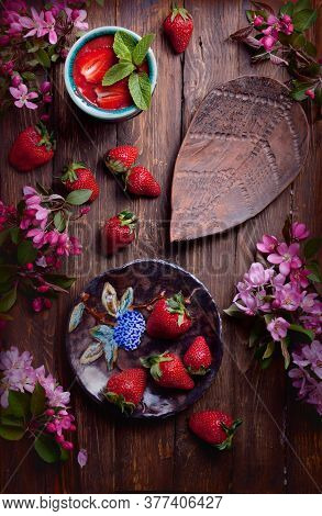 Flatlay Food Background - Empty Wooden Board With Strawberries, Fresh Smoothie And Pink Flowers, Cop
