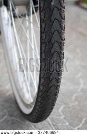 Tread The Wheel Of The Bike Close-up, Tread The Wheel Of The Bike Close-up. The Concept Of Freedom,