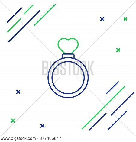 Line Wedding Rings Icon Isolated On White Background. Bride And Groom Jewelry Sign. Marriage Symbol.