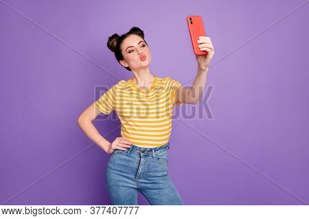 Portrait Of Nice Attractive Lovely Lovable Flirty Coquettish Cheerful Girl Taking Making Selfie Send