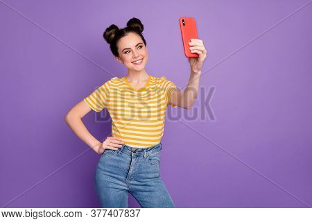 Portrait Of Her She Nice Attractive Lovely Lovable Cute Winsome Cheerful Cheery Girl Taking Making S