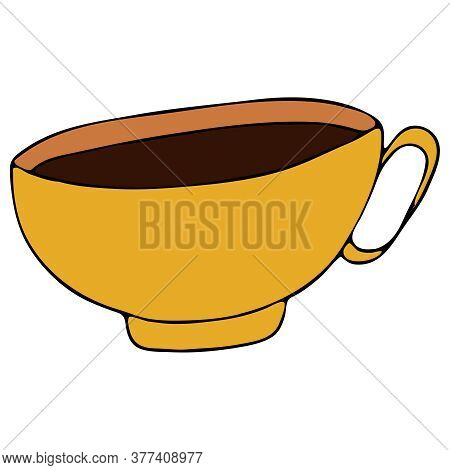 Yellow Cup With Hot Warming Tea, Freehand Drawing, Vector Doodle Elements, Black Outline