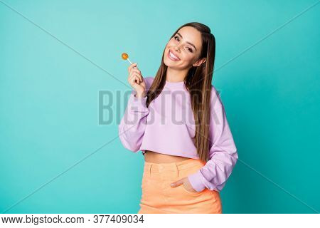 Photo Of Cute Pretty Funny Lady Hold Lollipop Candy On Stick Hands Good Mood Sweets Addicted Person