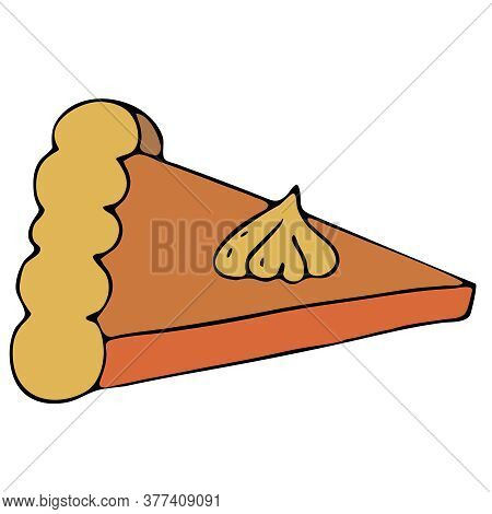 A Piece Of Delicious Pumpkin Pie, Freehand Drawing, Vector Elements In Doodle Style, Black Outline