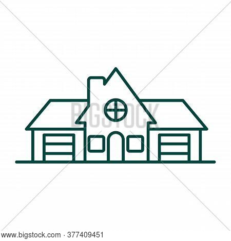 Cottage, Family House, Residence Linear Icon. Real Property Thin Line Illustration. Accommodation, H