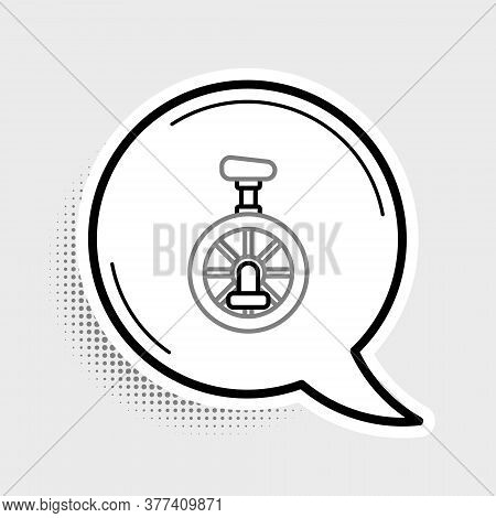 Line Unicycle Or One Wheel Bicycle Icon Isolated On Grey Background. Monowheel Bicycle. Colorful Out