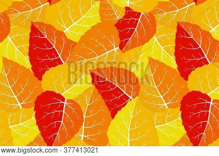 Bright Vector Leaves With Skeleton. Thick Botanical Seamless Pattern In Autumn Palette. Hand Drawn I