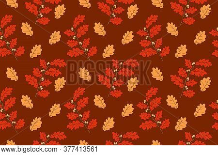 Hand Drawing Oak Branches With Acorns In Deep Autumn Palette. Vector Seamless Pattern In The Fall Mo