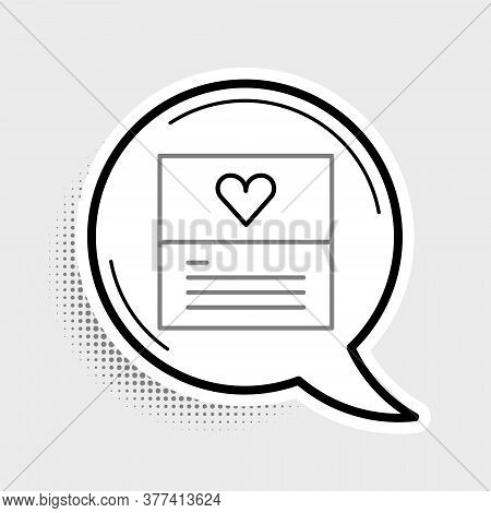 Line Greeting Card Icon Isolated On Grey Background. Celebration Poster Template For Invitation Or G
