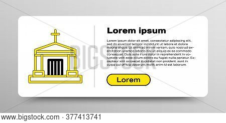 Line Old Crypt Icon Isolated On White Background. Cemetery Symbol. Ossuary Or Crypt For Burial Of De