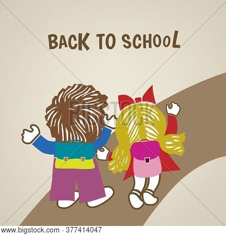 Back To School Poster With Boy And Girl On The Road Vector Eps 10