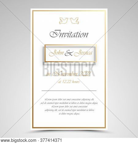 Wedding Announcement With Frame In Gold White Design Vector Eps 10