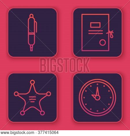 Set Line Pen, Hexagram Sheriff, Lawsuit Paper And Clock. Blue Square Button. Vector