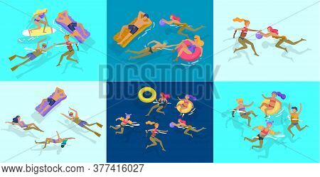 People Family And Children In Sea, Pool Or Ocean Performing Activities. Men Or Women Swimming In Swi