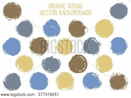 Vector Grunge Circles. Hipster Stamp Texture Circle Scratched Label Backgrounds. Circular Icon, Badg
