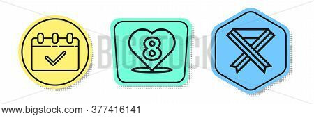 Set Line Calendar With 8 March, Heart With 8 March And Breast Cancer Awareness Ribbon. Colored Shape