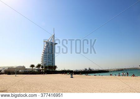 Country-dubai Date- 07/18/2020 Landscape View Of Burj Al Arab 7 Star Hotel Near Jumeirah Beach