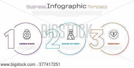 Set Line Easter Egg, Jesus Christ And Christian Cross And Heart. Business Infographic Template. Vect