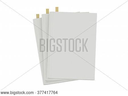 3d Stack Of Blank Books Illustration On White Background