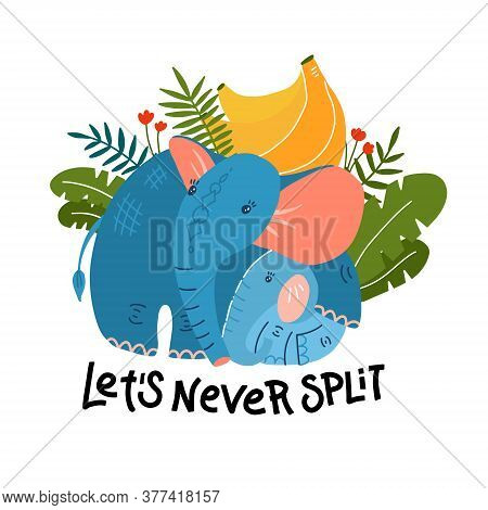 Cartoon Funny Mom Elephant With Baby And Banana Leaves. Cute, Funny Animal, Elephant Character With