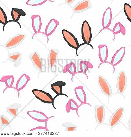 Easter Masks With Rabbit Ears Seamless Pattern Background For Celebration And Holiday. Vector Illust