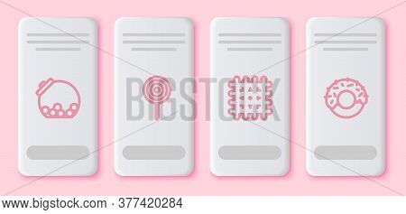 Set Line Glass Jar With Candies Inside, Lollipop, Cracker Biscuit And Donut. White Rectangle Button.
