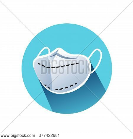 Face Mask Flat Icon. Covid Protective Anatomic Face Wear Color Illustration. Concept Of Individual H