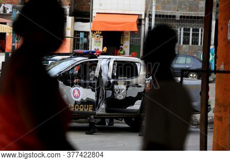 Salvador, Bahia / Brazil - October 7, 2016: Bahia Military Police Shock Battalion Agents Approach Me