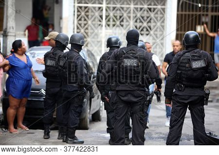 Salvador, Bahia / Brazil - October 6, 2017: Special Operations Battalion Agent - Bope - Are Spotted