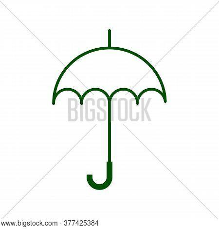 Umbrella Glyph Icon. Silhouette Symbol. Opened Rain Umbrella. Negative Space. Vector Isolated Illust