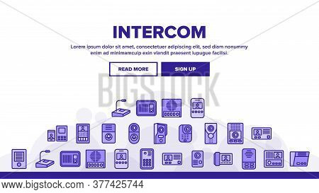 Intercom Communication Landing Web Page Header Banner Template Vector. Intercom Electronic Protectio