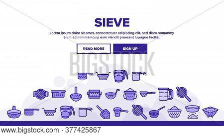 Sieve Kitchen Utensil Landing Web Page Header Banner Template Vector. Sieve Colander Cuisine Equipme