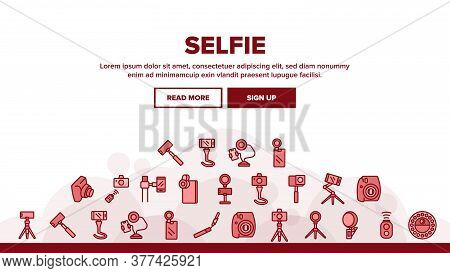 Selfie Photo Camera Landing Web Page Header Banner Template Vector. Selfie Stick And Tripod, Lens An
