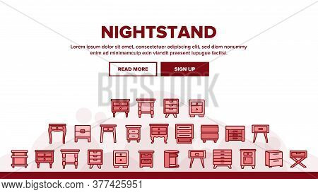 Nightstand Furniture Landing Web Page Header Banner Template Vector. Nightstand Vintage And Modern D