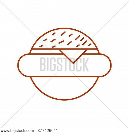 Hamburger Linear Icon. Thin Line Illustration. Fastfood Cheese Burger Contour Symbol. Vector Isolate