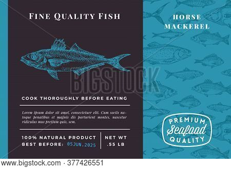 Premium Quality Horse Mackerel Abstract Vector Packaging Design Or Label. Modern Typography And Hand