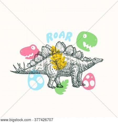 Prehistoric Dinosaur Abstract Sign, Symbol Or Card Template. Hand Drawn Stegosaurus Reptile With Fun