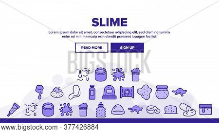 Slime Mucus Liquid Landing Web Page Header Banner Template Vector. Slime In Bottle And Container, Tu
