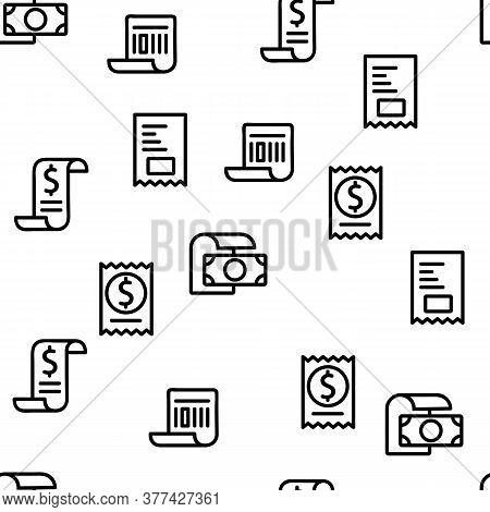 Receipt Bill Vector Seamless Pattern Thin Line Illustration